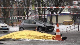 Дівчина на Peugeot збила одразу двох пішоходів. Біла Церква (11.02.18)